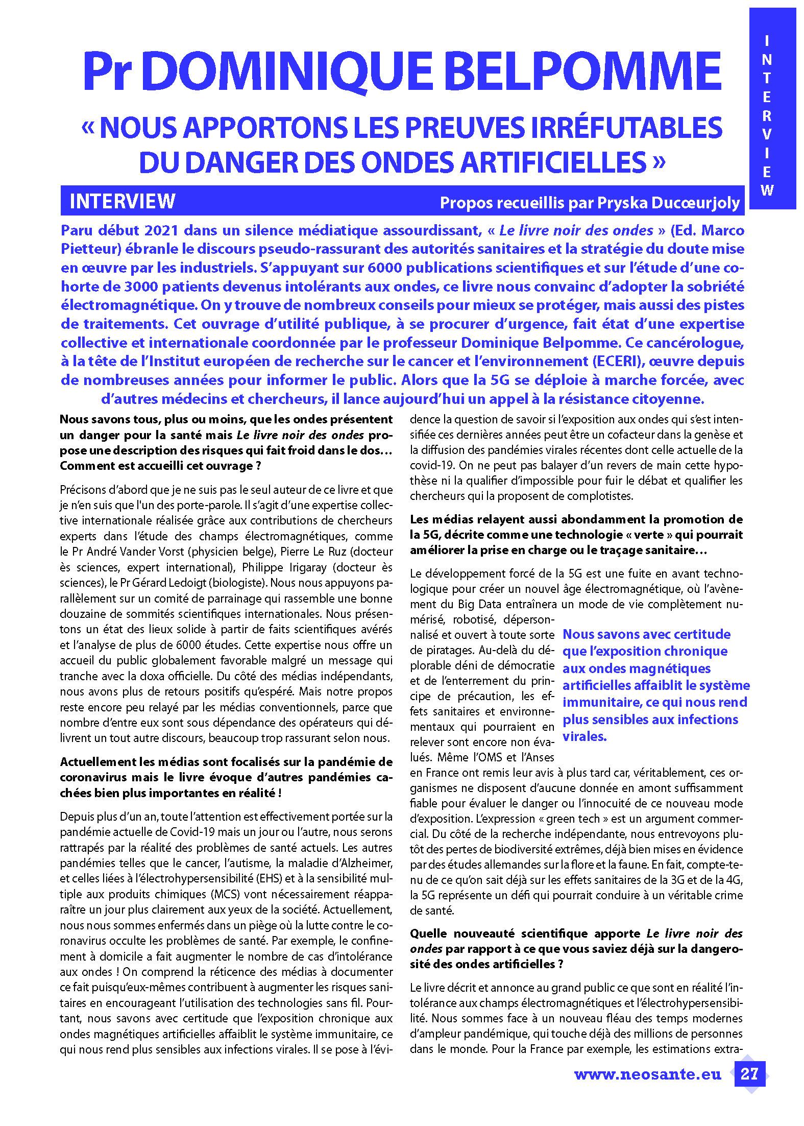 Télécharger l'interview de Dominique Belpomme dans la revue Néo Santé