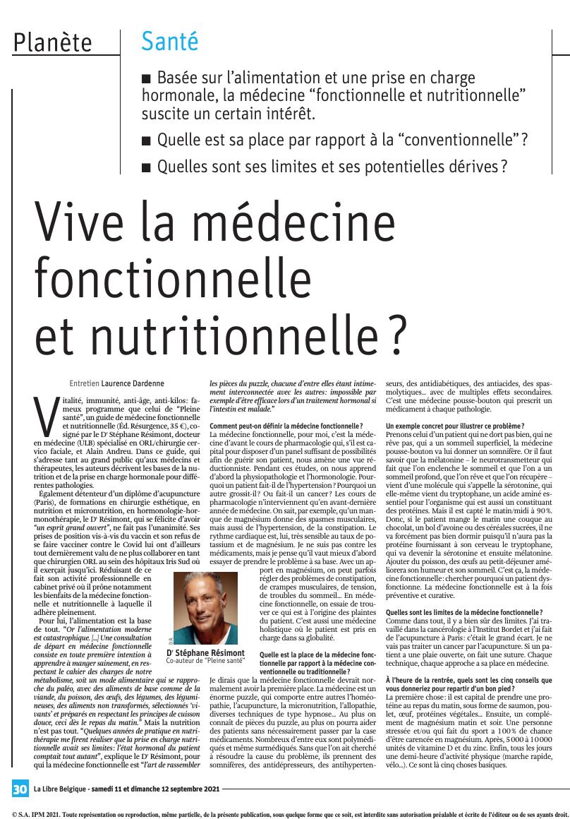 Vivre la médecine fonctionnelle et nutritionnelle ?